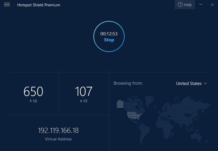 Hotpost Shield VPN Interface Minimalista