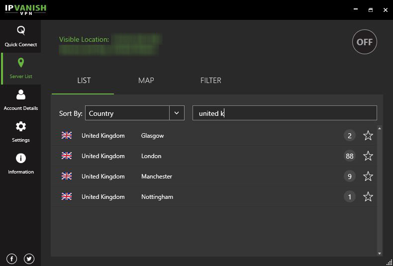 ipvanish lista de servidores