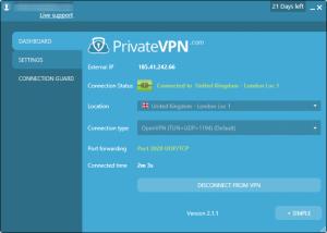 privatevpn-conectado interface avançada