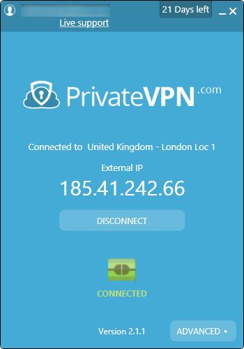 privatevpn conectado
